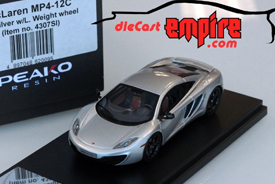 Peako Model 1/43 McLaren MP4-12C Ice Silver w/ Light Weight wheel